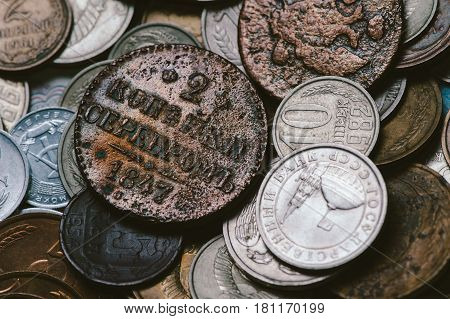 A handful of old Russian coins. Antiques. Macro.