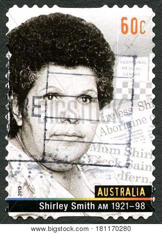 AUSTRALIA - CIRCA 2013: A used postage stamp from Australia depicting a portrait of Shirley Smith also known as Mum Shirl a social reformer and humanitarian circa 2013.