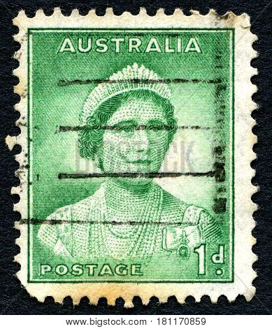 AUSTRALIA - CIRCA 1937: A used postage stamp from Australia depicting a portrait of Elizabeth Bowes Lyon later affectionately known as the Queen Mother circa 1937.