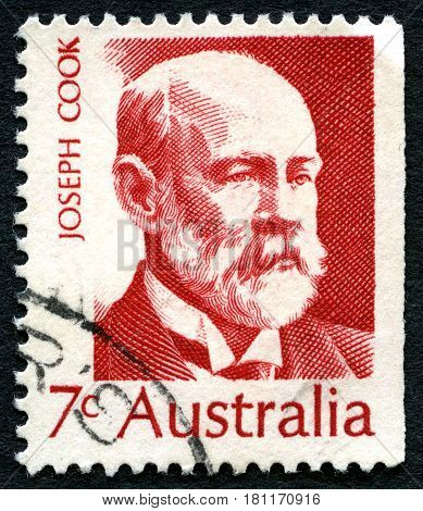 AUSTRALIA - CIRCA 1971: A used postage stamp from Australia depicting a portrait of Joseph Cook - politician and sixth Prime Minister of Australia circa 1971.