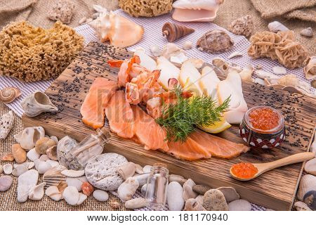 Assorted fish with a light-salted salmon and smoked oil fish