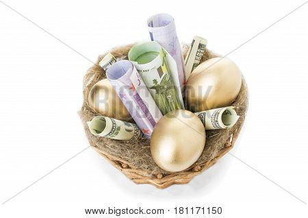 Nest with golden eggs on a white background. Golden Eggs in Nest with of Dollars and the euro