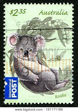 AUSTRALIA - CIRCA 2011: A used postage stamp from Australia depicting an illustration of a Koala circa 2011.