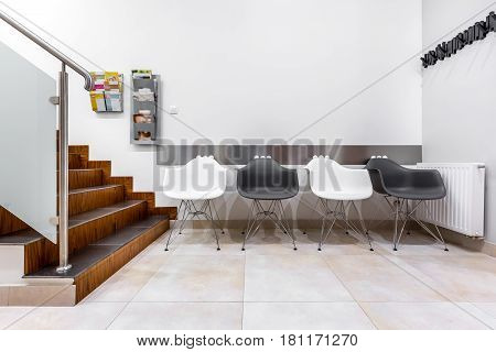 Modern Waiting Room With Stairs