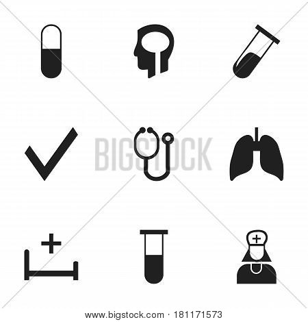 Set Of 9 Editable Care Icons. Includes Symbols Such As Intelligence, Hospital Assistant, Clinic Room And More. Can Be Used For Web, Mobile, UI And Infographic Design.