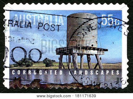 AUSTRALIA - CIRCA 2009: A used postage stamp from Australia celebrating corrugated landscapes and architecture circa 2009.