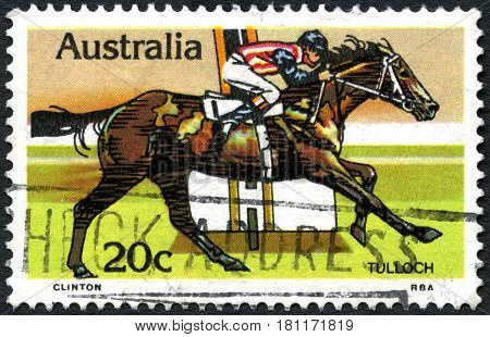AUSTRALIA - CIRCA 1978: A used postage stamp from Australia depicting an illustration of historic racehorse Tulloch circa 1978.
