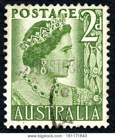 AUSTRALIA - CIRCA 1950: A used postage stamp from Australia depicting a portrait of Elizabeth Bowes Lyon later affectionately known as the Queen Mother circa 1950.
