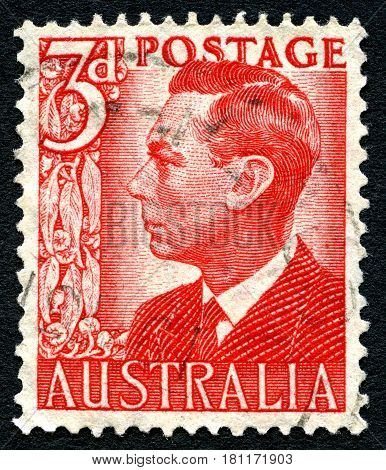 AUSTRALIA - CIRCA 1950: A used postage stamp from Australia depicting a portrait of King George VI circa 1950.