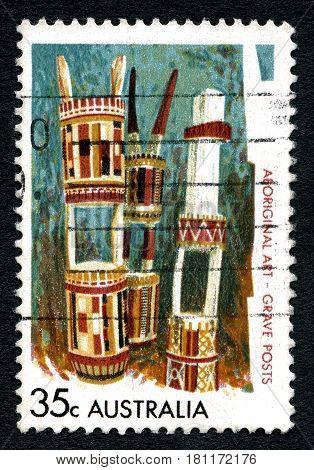 AUSTRALIA - CIRCA 1971: A used postage stamp from Australia depicting an illustration of Aboriginal Art circa 1971.