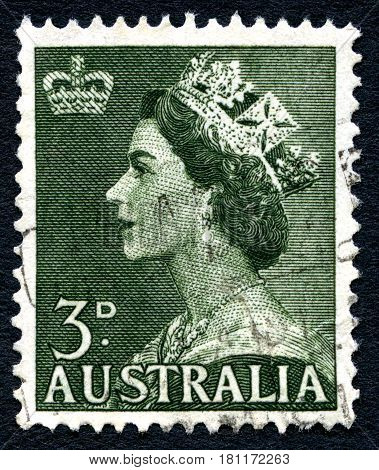 AUSTRALIA - CIRCA 1953: A used postage stamp from Australia depicting a portrait of Queen Elizabeth II circa 1953.