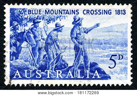AUSTRALIA - CIRCA 1963: A used postage stamp from Australia commemorating the 150th Anniversary of the first successful crossing of the Blue Mountains in 1813 circa 1963.