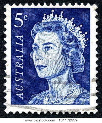 AUSTRALIA - CIRCA 1967: A used postage stamp from Australia depicting a portrait of Queen Elizabeth II circa 1967.