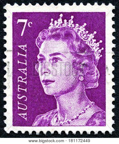 AUSTRALIA - CIRCA 1971: A used postage stamp from Australia depicting a portrait of Queen Elizabeth II circa 1971.