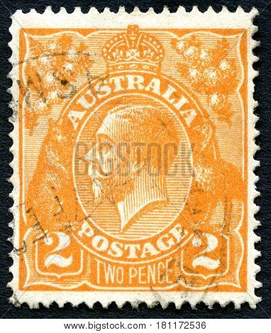 AUSTRALIA - CIRCA 1924: A used postage stamp from Australia depicting a portrait of King George V circa 1924.