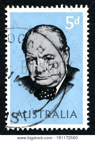 AUSTRALIA - CIRCA 1965: A used postage stamp from Australia depicting a portrait of former British Prime Minister Sir Winston Churchill circa 1965.