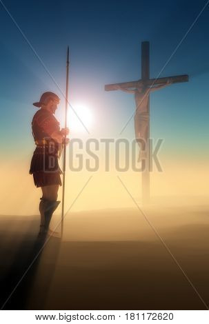 Crucified Jesus and the soldiers in the desert.,3d render