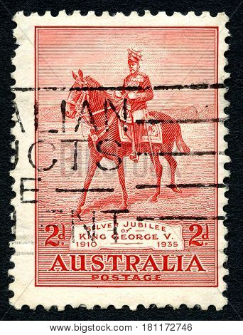 AUSTRALIA - CIRCA 1935: A used postage stamp from Australia issued to celebrate the Silver Jubilee of the reign of King George V circa 1935.