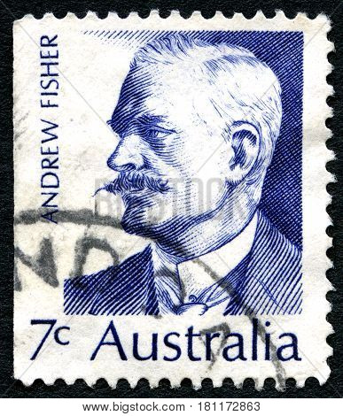 AUSTRALIA - CIRCA 1972: A used postage stamp from Australia depicting a portrait of former Australian Prime Minister Andrew Fisher circa 1972.