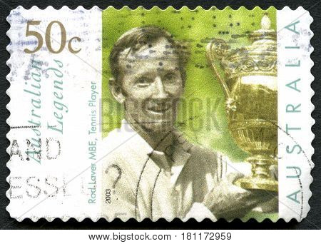 AUSTRALIA - CIRCA 2003: A used postage stamp from Australia celebrating Australian Legends with an image of Aussie Tennis legend Rod Laver circa 2003. Laver won 200 titles in her career.