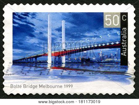 AUSTRALIA - CIRCA 2004: A used postage stamp from Australia depicting an image of Bolte Bridge in Melbourne Australia circa 2004.