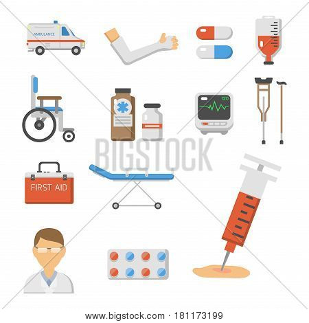 Medical icons set care heart ambulance hospital emergency and syringe pharmacy clinic web human laboratory symbols vector illustration. Medication doctor science.
