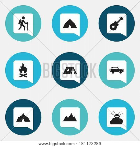 Set Of 9 Editable Travel Icons. Includes Symbols Such As Sport Vehicle, Fever, Refuge And More. Can Be Used For Web, Mobile, UI And Infographic Design.