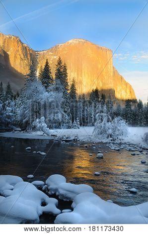 Sunset on El Capitan in Yosemite National Park, California