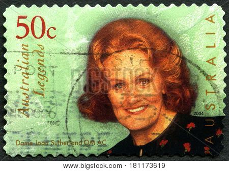 AUSTRALIA - CIRCA 2004: A used postage stamp from Australia depicting an image of Dame Joan Sutherland - Australian dramatic coloratura soprano circa 2004.