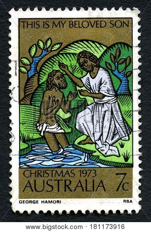 AUSTRALIA - CIRCA 1973: A used postage stamp from Australia depicting a biblical illustration to commemorate Christmas circa 1973.