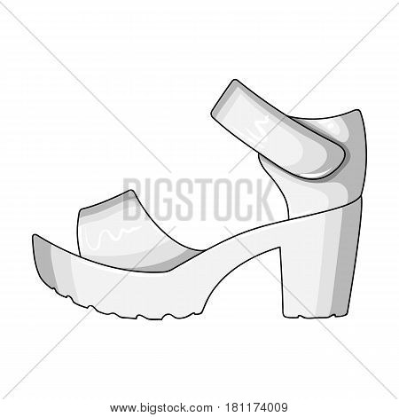 Women summer white sandals on a bare foot.Different shoes single icon in monochrome style vector symbol stock web illustration.