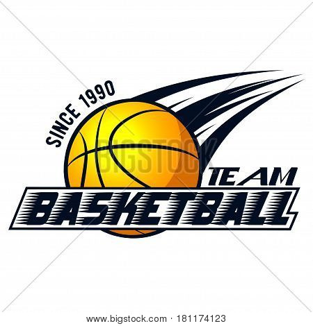 Vector logo basketball game for design, print, advertisement, web, promo on white background