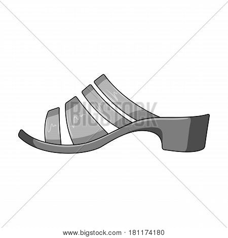 Brown leather women summer heels. Shoes for walking in the Park .Different shoes single icon in monochrome style vector symbol stock web illustration.