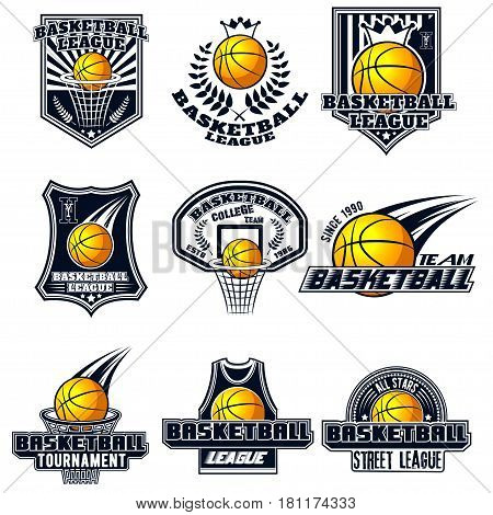 Vector set basketball logos for print, web, design, advertisement, sports team on a white background