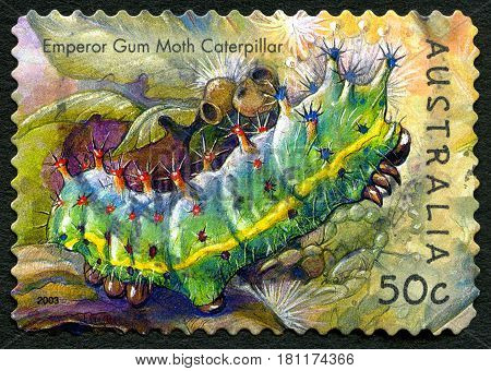 AUSTRALIA - CIRCA 2003: A used postage stamp from Australia depicting an illustration of an Emperor Gum Moth Caterpillar circa 2003.