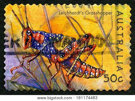 AUSTRALIA - CIRCA 2003: A used postage stamp from Australia depicting an illustration of Leichhardts Grasshopper circa 2003.