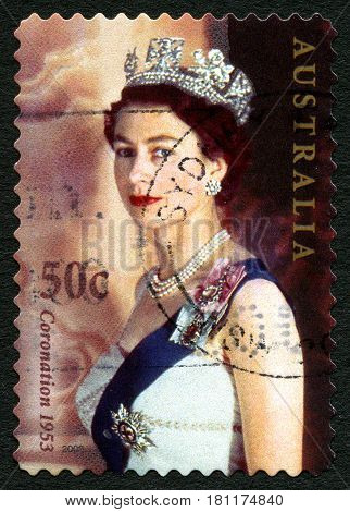 AUSTRALIA - CIRCA 2003: A used postage stamp from Australia depicting a portrait of Queen Elizabeth II commemorating the 50th Anniversary of other Coronation circa 2003.