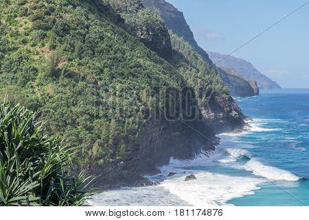 Gorgeous Coastline: partial view of the Napali Coastline, taken from the Kalalau Hiking Trail, on Kauai