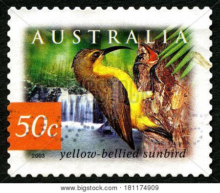 AUSTRALIA - CIRCA 2003: A used postage stamp from Australia depicting an illustration of a Yellow Bellied Sunbird circa 2003.