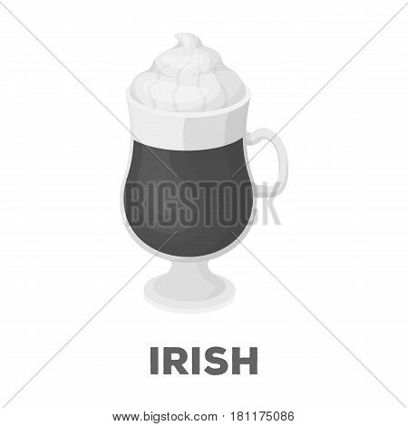 Cup of Irish coffee.Different types of coffee single icon in monochrome style vector symbol stock illustration .