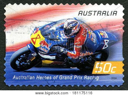 AUSTRALIA - CIRCA 2004: A used postage stamp from Australia celebrating Australian Heroes of Grand Prix Racing with an image of Garry McCoy circa 2004.