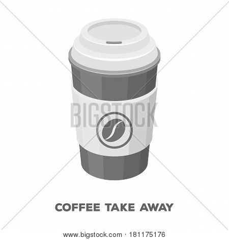 A cup of coffee to takeaway.Different types of coffee single icon in monochrome style vector symbol stock illustration .