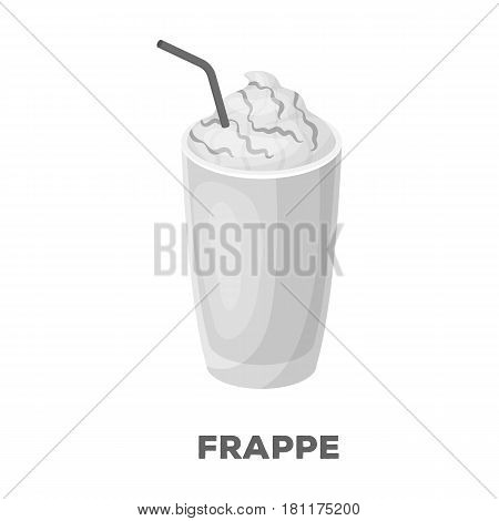 A glass of frappe.Different types of coffee single icon in monochrome style vector symbol stock illustration .