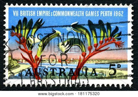 AUSTRALIA - CIRCA 1962: A used postage stamp from Australia commemorating the 7th British Empire and Commonwealth Games held in Perth circa 1962.