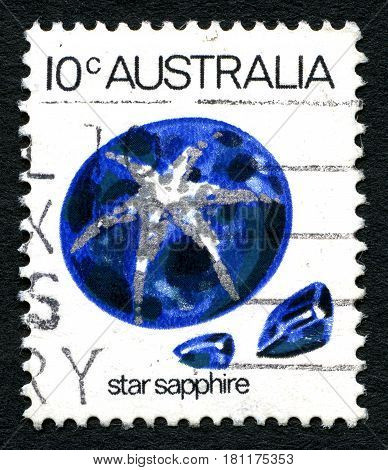 AUSTRALIA - CIRCA 1973: A used postage stamp from Australia depicting an illustration of a Star Sapphire gemstone circa 1973.