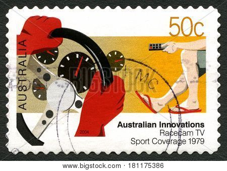 AUSTRALIA - CIRCA 2004: A used postage stamp from Australia celebrating Australian Innovations - this one commemorating Racecam TV Sports Coverage circa 2004.