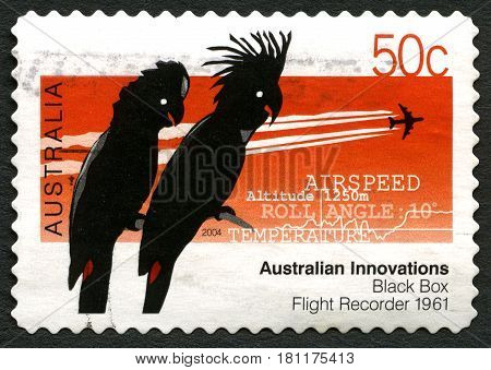 AUSTRALIA - CIRCA 2004: A used postage stamp from Australia celebrating Australian Innovations - this one commemorating the Black Box Flight Recorder circa 2004.