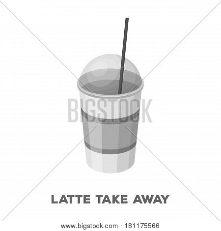 Latte for take-away.Different types of coffee single icon in monochrome style vector symbol stock illustration .