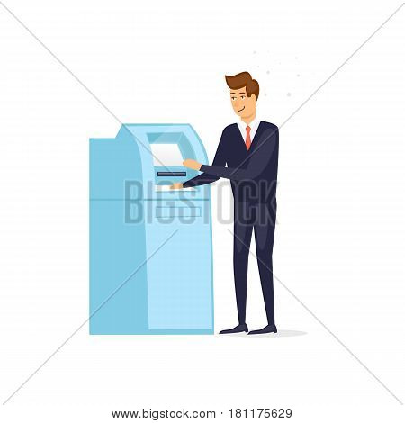 Man withdraws money from an ATM. Vector illustration flat style.
