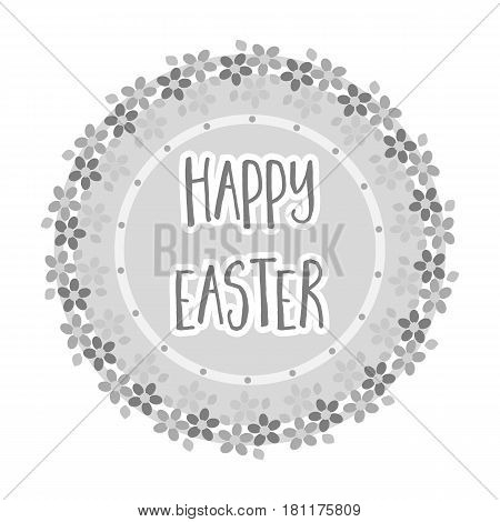 Sticker happy Easter. Easter single icon in monochrome style vector symbol stock web illustration.